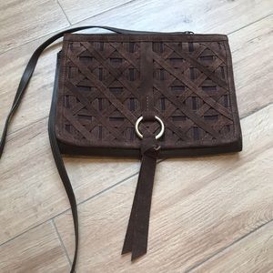 Nanette Lepore Brown Leather/ Suede Crossbody Bag
